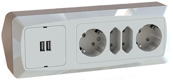 Splitter nya HÖRNBOX USB + 2+2-V UTTAG - Etman Distribution AB RL-41