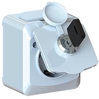 Uttag 1-v låsbart IP44 utp vit