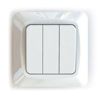 Vipptryckknapp 3x1-pol inf vit
