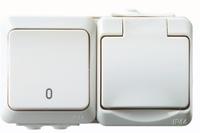 1-väg + 2-pol IP44 utp vit